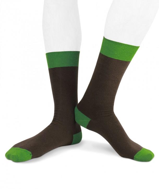 Calze corte in cotone ecologico Ecotec® per uomo marrone verde