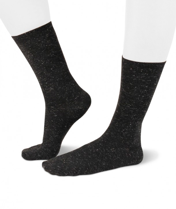 Lurex short anthracite socks for women