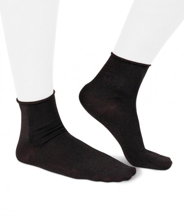 Lurex short black socks for women