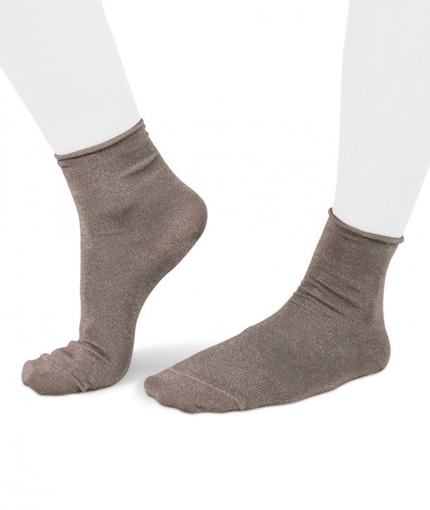 Lurex short grey socks for women