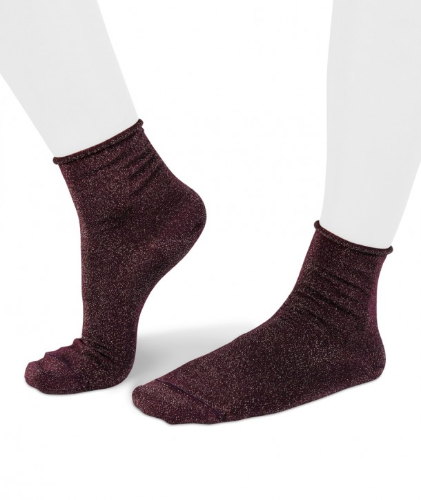 Lurex short aubergine socks for women