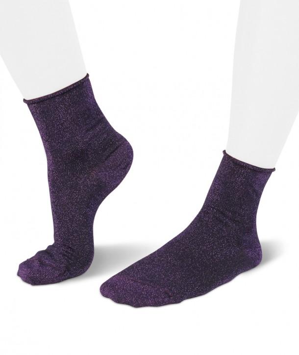Lurex short purple socks for women