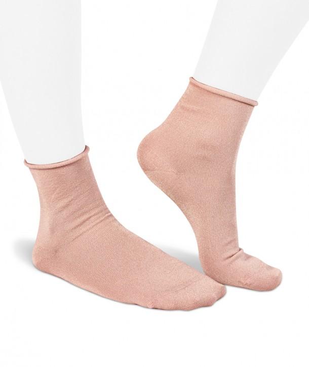 Calze corte in Lurex rosa per donna