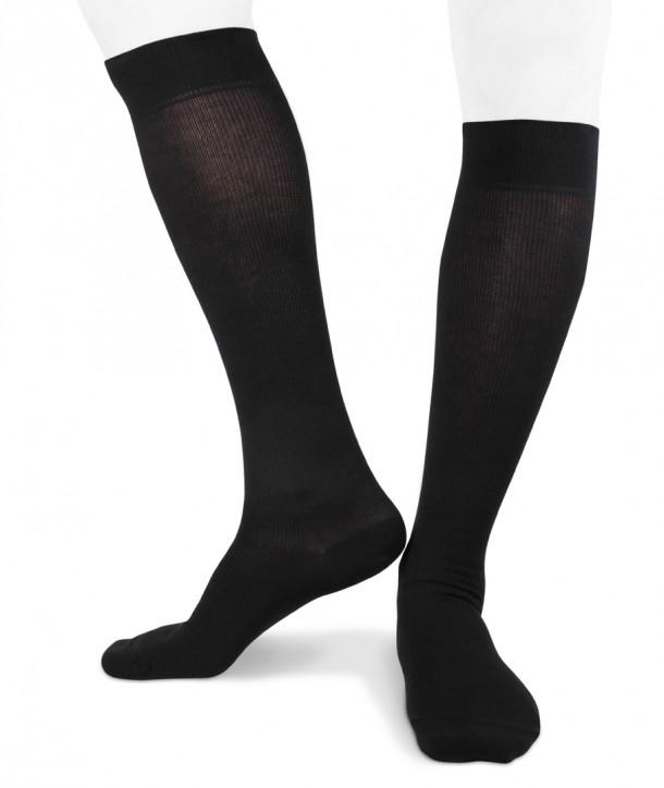 Long black travel graduated compression socks for men