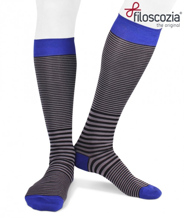 Cotton Lisle Long Striped Socks Black Grey Blue for men