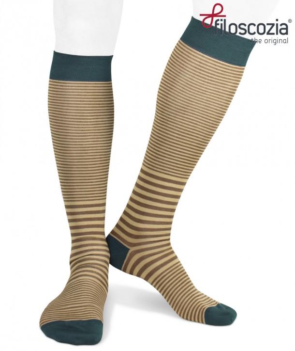 Cotton Lisle Long Striped Socks Brown Beige Teal for men