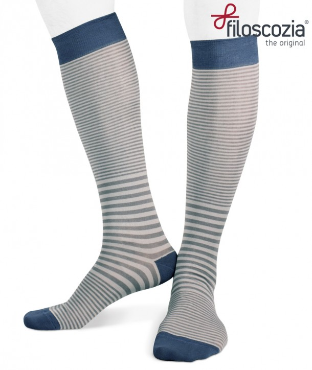 Cotton Lisle Long Striped Socks Grey Denim for men