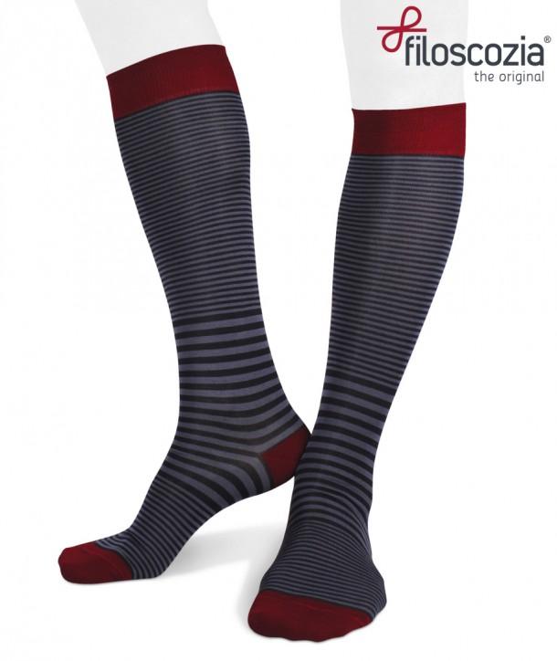Cotton Lisle Long Striped Socks Navy Denim Red for men