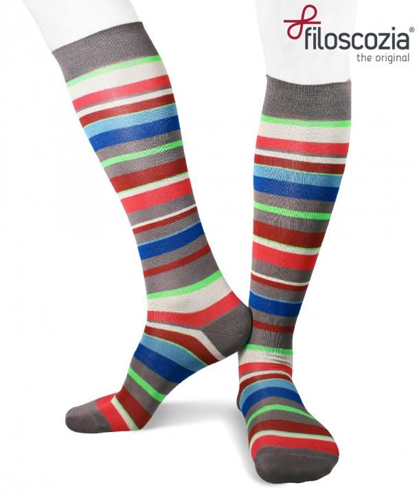 Irregular Colored Stripes Cotton Lisle Long Socks grey for men