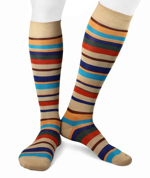 Irregular Color Striped Cotton Long Socks beige
