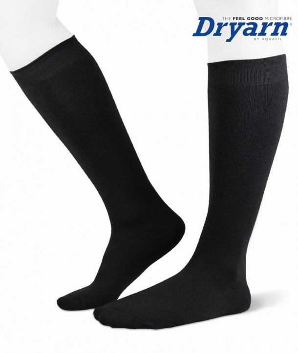 Long microfleece Dryarn® black socks for women