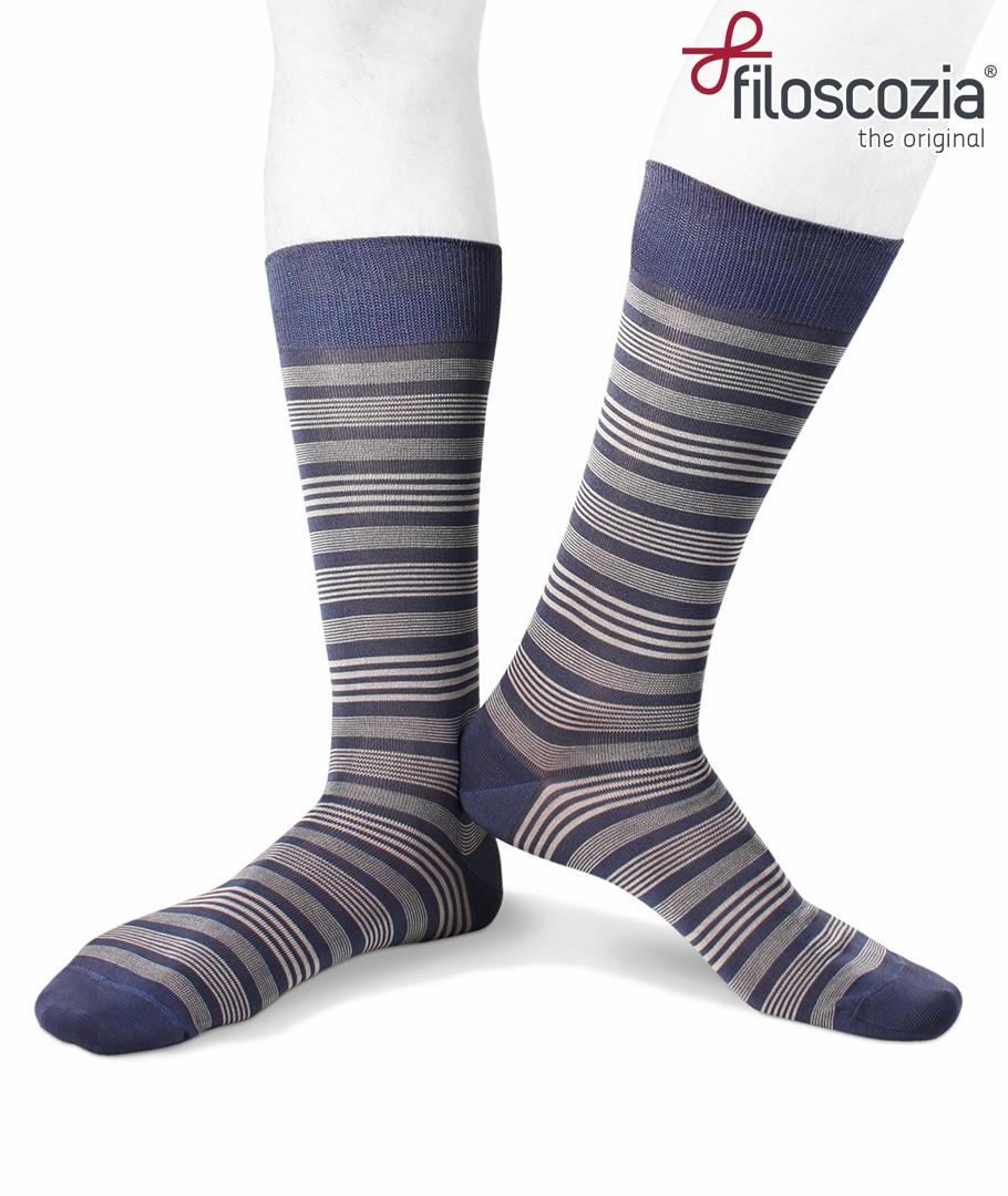 414fb4ce8 Short cotton lisle striped denim socks for men