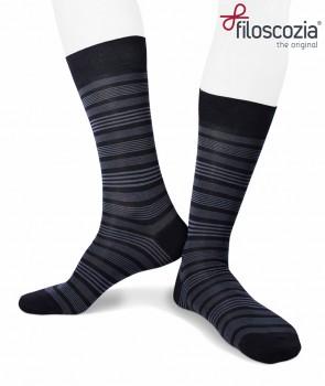 576ce514c Short cotton lisle striped navy socks for men ...