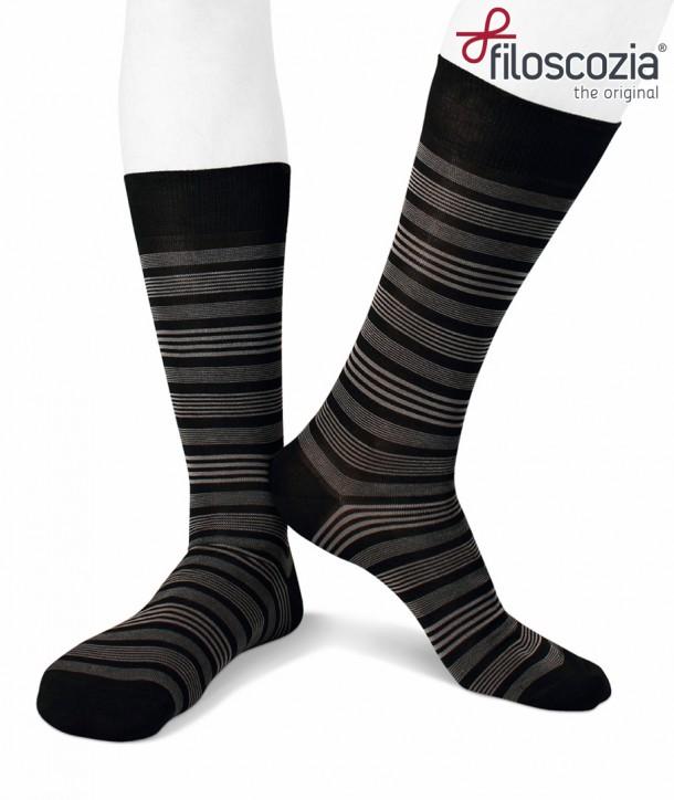 Calze corte nere a righe in filo di scozia per uomo