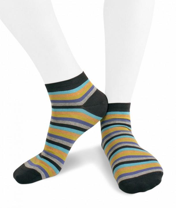 Calze sneakers righe colorate in Cotone fondo grigio per uomo