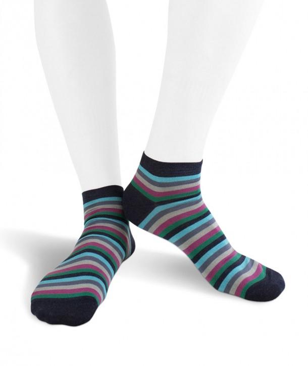 Calze sneakers righe colorate in Cotone fondo denim per uomo