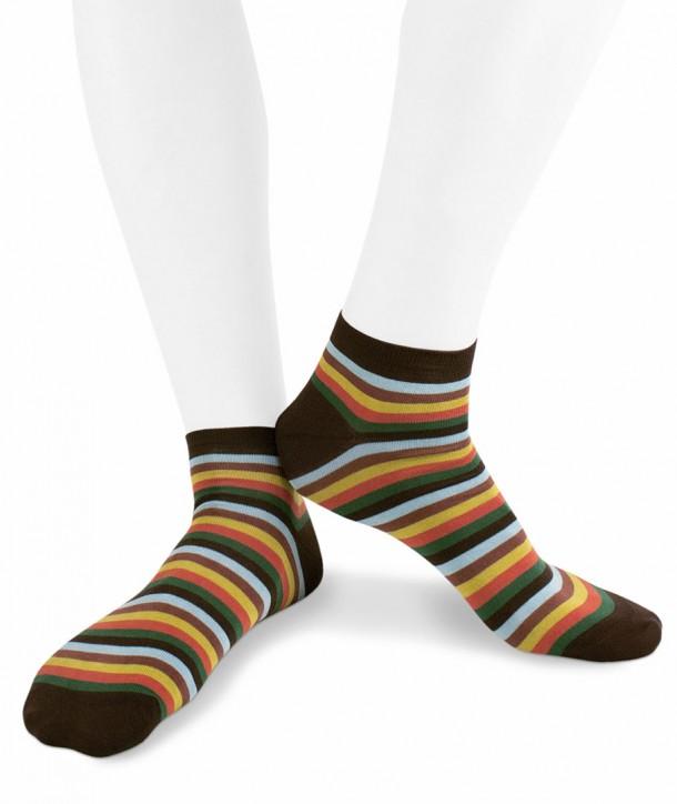 Calze sneakers righe colorate in Cotone fondo marrone per uomo