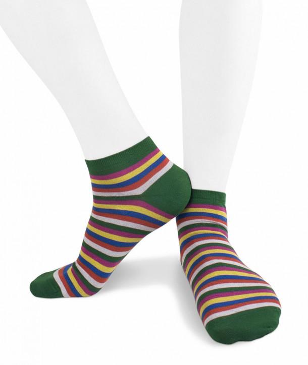 Calze sneakers righe colorate in Cotone fondo verde per uomo