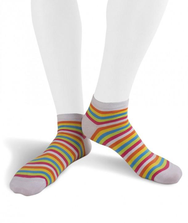 Calze sneakers righe colorate in Cotone fondo bianco per uomo