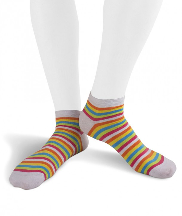 Striped Cotton Sneaker Socks white for Men