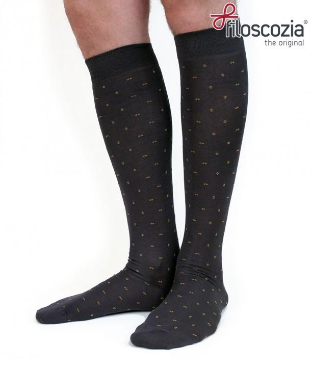 Long cotton lisle micropattern dark grey Socks for men